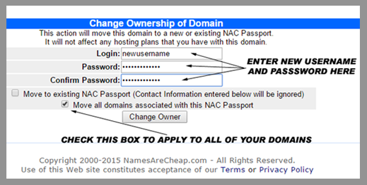 Namesarecheap.com | Change domain username and password